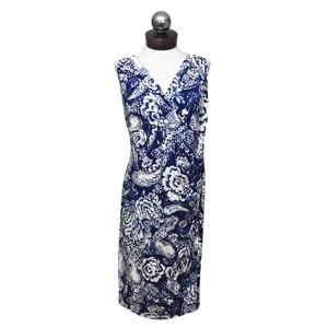 LAUREN Ralph Lauren Stretch blue white dress 16W
